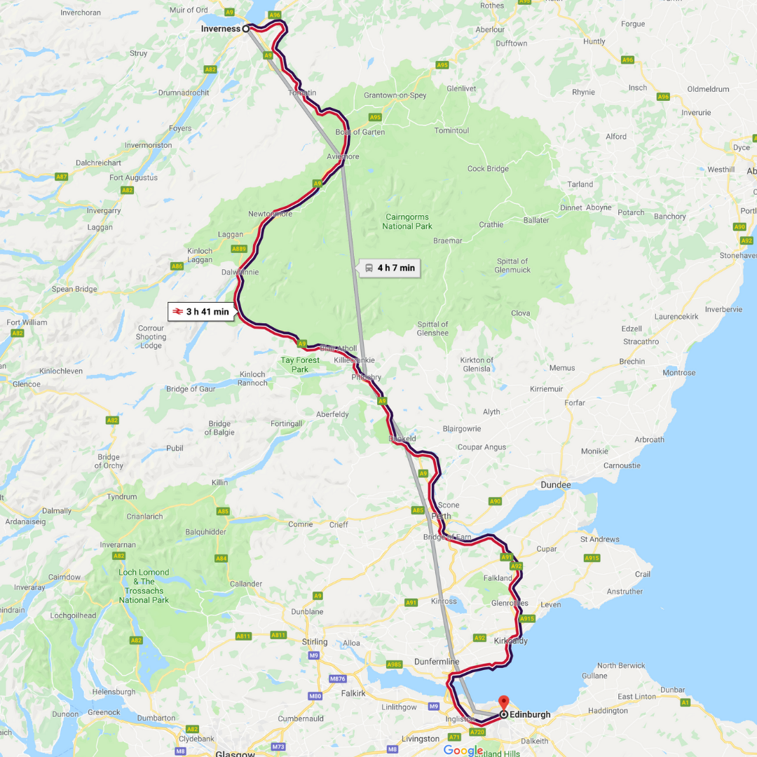 Train route from Inverness to Edinburgh.