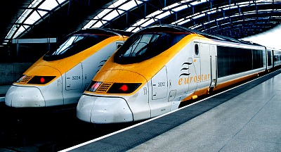 Eurostar London to Paris trains at the station waiting to leave.