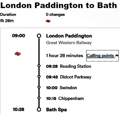 Train stops from London Paddington station to Bath Spa station.