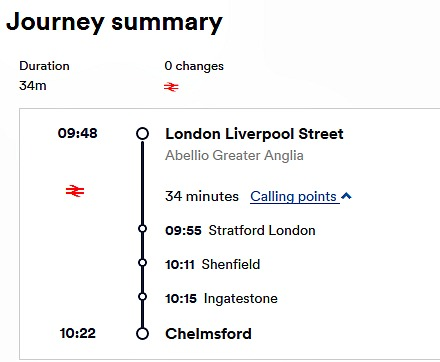 London Liverpool Street Station to Chelmsford by Train. Journey Time and Stops on a slow train.