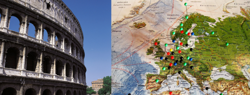 See Europe with Rail Europe Tickets. Right: Colosseum, Rome. Left: Map of Europe.